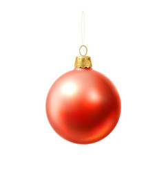 Christmas tree ball red realistic toy vector