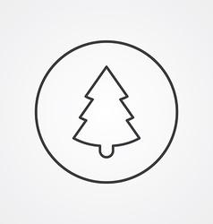 Christmas tree outline symbol dark on white vector image