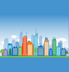 cities blue buidling design calm vector image