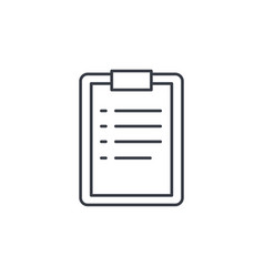 clipboard to-do list plan thin line icon linear vector image
