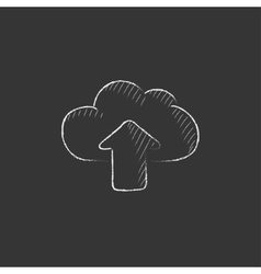 Cloud with arrow up Drawn in chalk icon vector