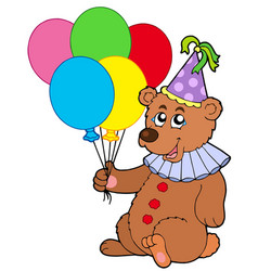 Clown bear with balloons vector