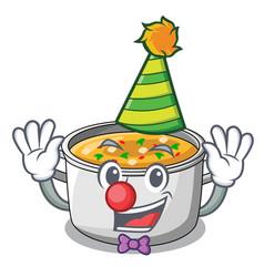 clown cartoon homemade stew soup in the pot vector image