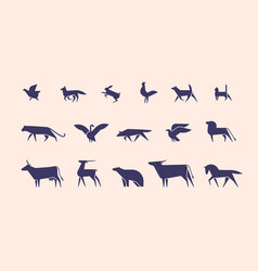 collection of silhouettes or shapes of wild and vector image