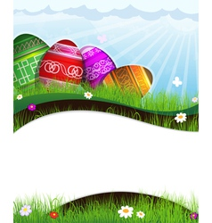 Colorful Easter eggs in grass vector image