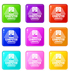 computer service icons set 9 color collection vector image