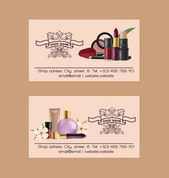 cosmetic business card beauty make up vector image