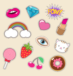 Cute colourful girl fashion patches vector