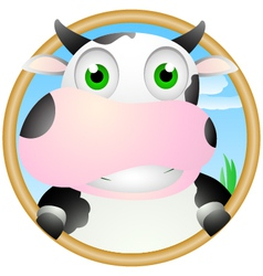 cute cow face vector image