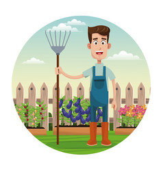 Cute farmer coveralls and pitchfork garden fence vector