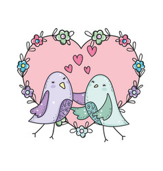 Cute little birds couple with flowers lovely vector