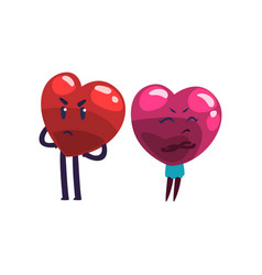 Cute red and pink hearts characters quarreling vector