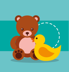 cute toys bear teddy and plastic duck vector image