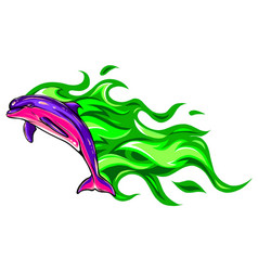 dolphin jump with flames vector image