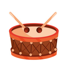 Drum and drumsticks percussion musical instrument vector