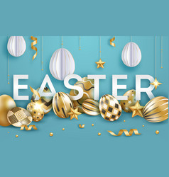 easter blue background with realistic decorated vector image