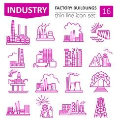 Factory buildings icon set Thin line icon design vector image