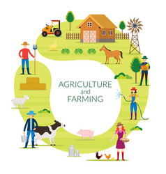 Farmer agriculture and farming concept round frame vector