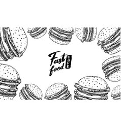 fast food background vegetable vegan burger vector image