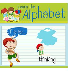Flashcard letter T is for thinking vector