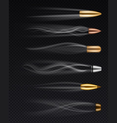 flying bullets realistic different fired bullet vector image