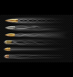 Flying bullets with smoke traces from gun shot vector