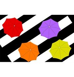 Four umbrellas on stripes background vector
