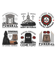 Funeral service coffin cemetery and tombstone vector