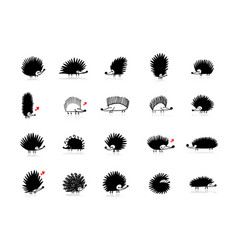 funny hedgehogs collection black silhouette for vector image