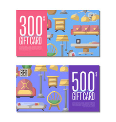 Gift card set for living room furniture vector