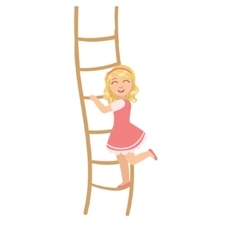Girl In Pink Dress Climbing Rope Ladder vector image