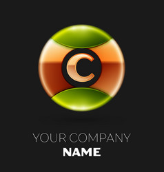 golden letter c logo symbol in golden-green circle vector image