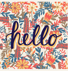 Greeting card with modern calligraphy hello vector