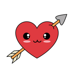 heart with arrow kawaii character vector image
