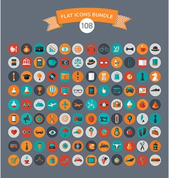 huge modern collection flat icons vector image