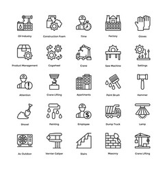 Industrial and construction line icon set 3 vector