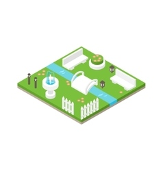 Isometric design nature park landscape vector image