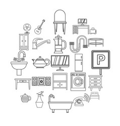 Lodging house icons set outline style vector