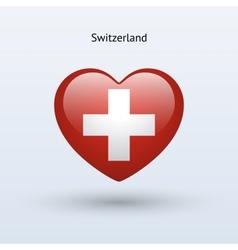 Love Switzerland symbol Heart flag icon vector
