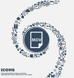 Mov file format icon in the center Around the many vector