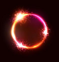 neon light circle lamp sign vector image