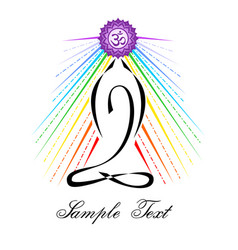 On theme yoga with rainbow col vector