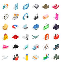 Online retailer icons set isometric style vector