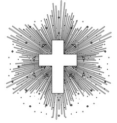 outline drawing catholic cross with rays the vector image