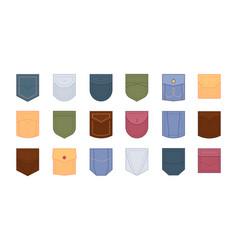 Patch pocket set design colored pockets round vector