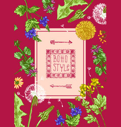 Pattern with wildflowers vector