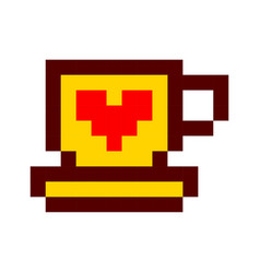 Pixel cup of coffee tea cartoon retro game style vector