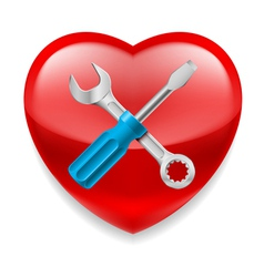 Red heart with tools vector