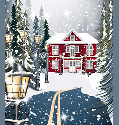 Red house winter snowy background fir trees road vector