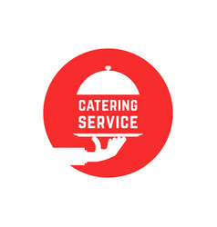 Red round catering service logo vector